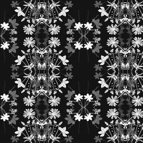 Black White Grey floral pattern