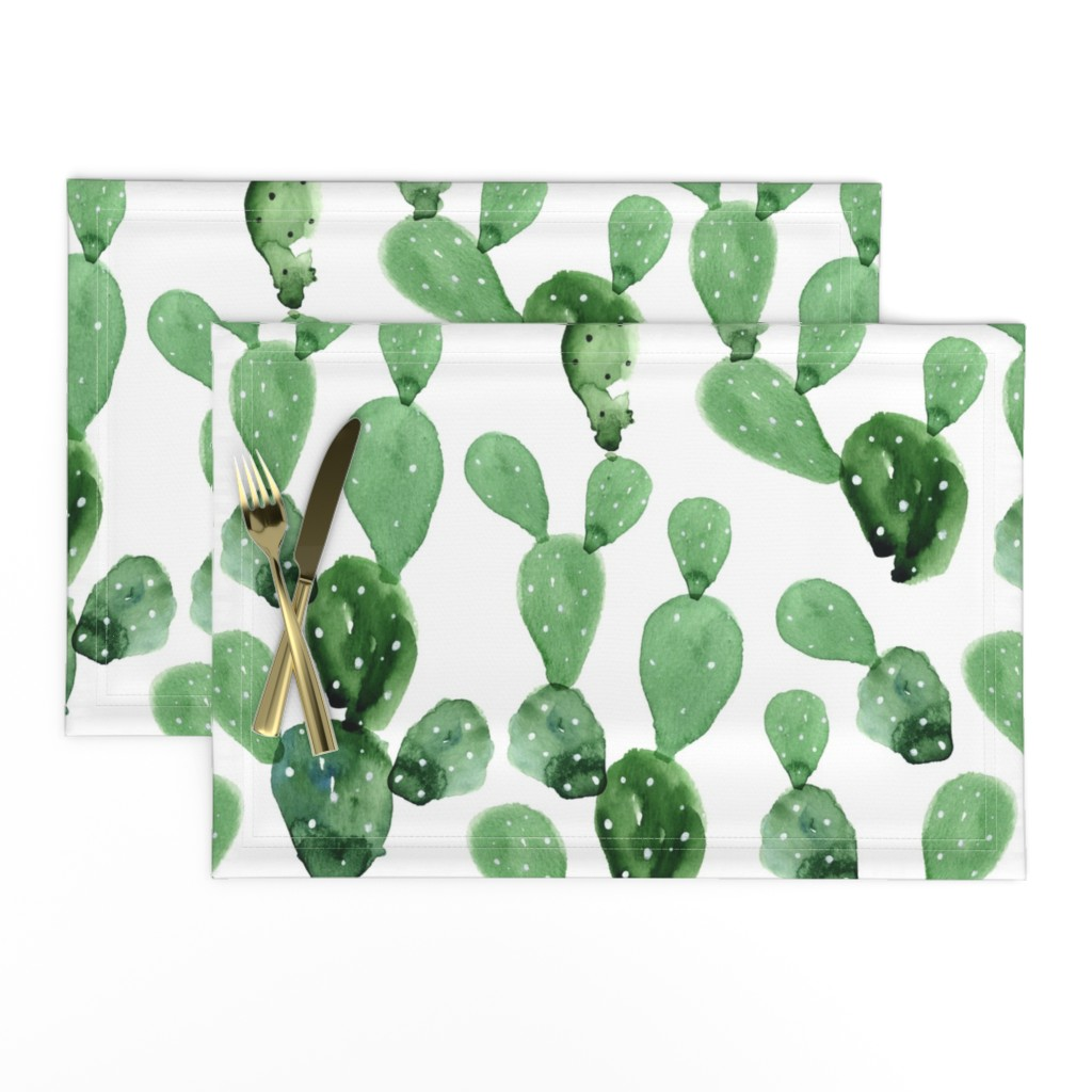 Lamona Cloth Placemats featuring Watercolor Paddle Cactus / Large Scale by hipkiddesigns