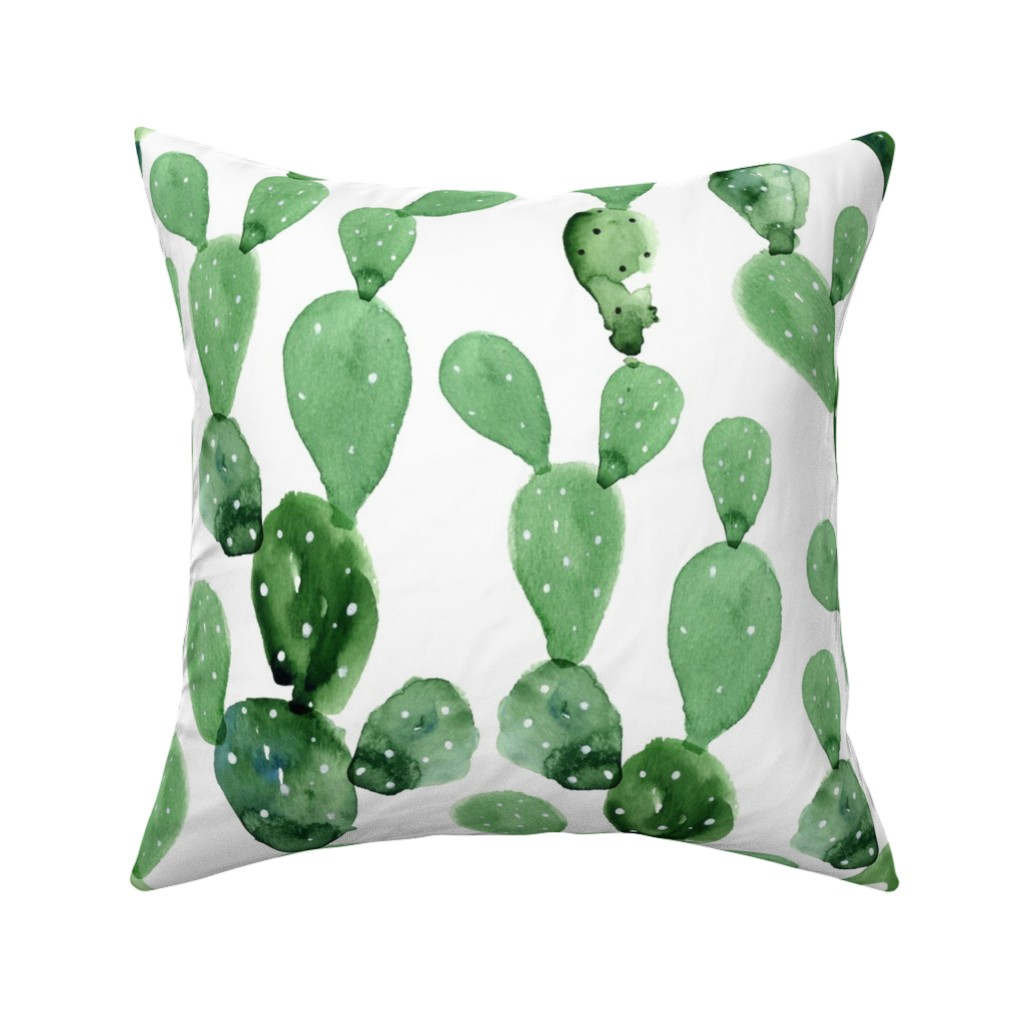 Catalan Throw Pillow featuring Watercolor Paddle Cactus / Large Scale by hipkiddesigns