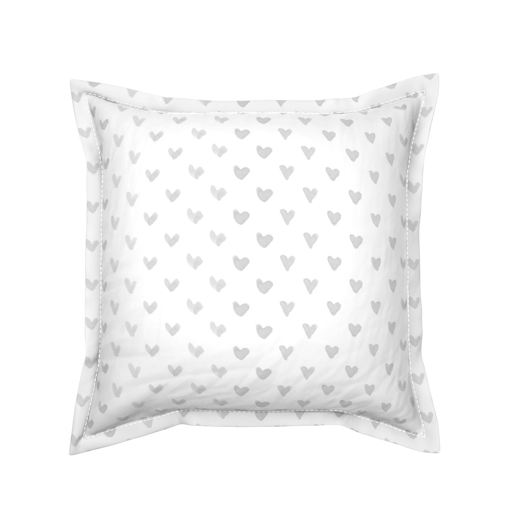 Serama Throw Pillow featuring Love Hearts // Light Gray by hipkiddesigns