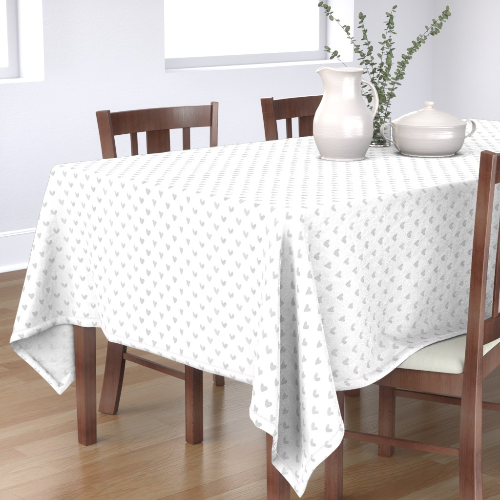 Bantam Rectangular Tablecloth featuring Love Hearts // Light Gray by hipkiddesigns