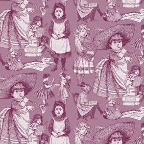 Victorian Books Burgundy Toile Fabric Designs
