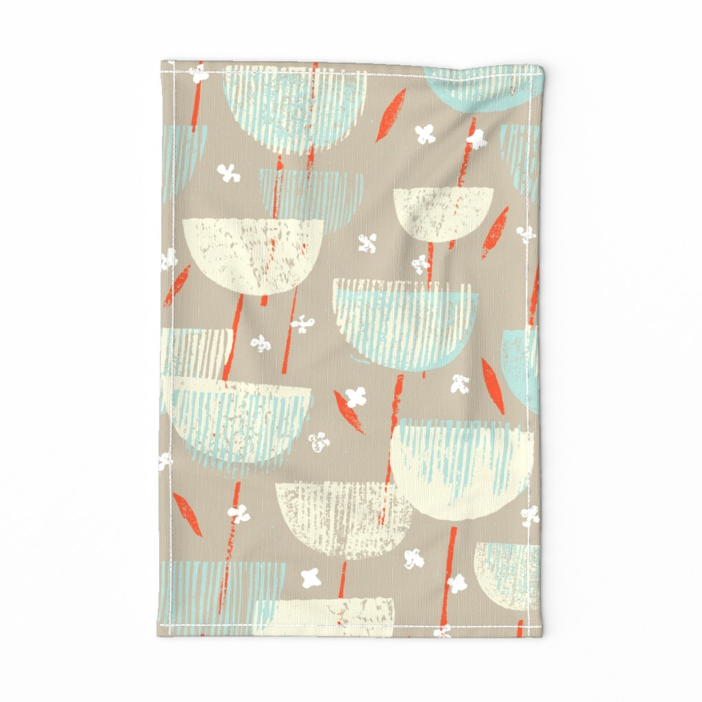 Special Edition Spoonflower Tea Towel featuring Botanical Block Print M+M Latte by Friztin by friztin