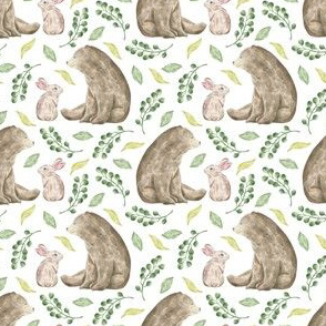 Bear and rabbit in florals