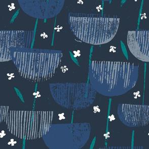Botanical Block Print M+M Navy by Friztin