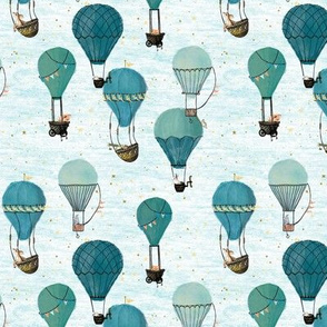 Tiny Woodland Animal Hot Air Balloon Day Adventure, turquoise, mint, white, kids, baby shower, baby boy, stars, quilt, gender neutral nursery 700 dpi