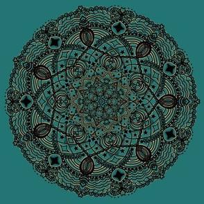 Mandala Black Gold on Teal Green