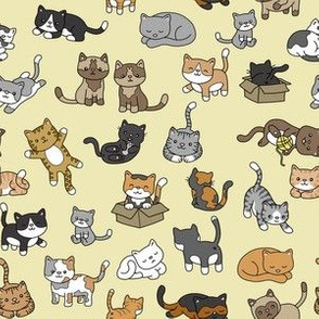 Cat Doodles on Yellow