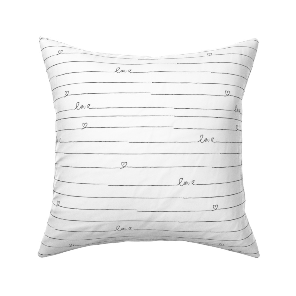 Catalan Throw Pillow featuring Love Note // Black and White Stripes by hipkiddesigns