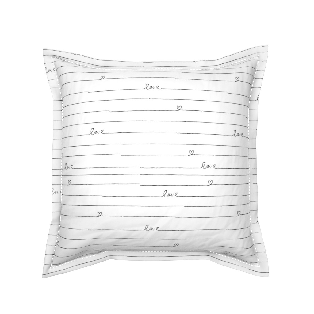 Serama Throw Pillow featuring Love Note // Black and White Stripes by hipkiddesigns