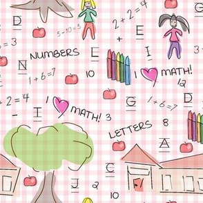 Caitlin Loves Numbers - Pink Gingham