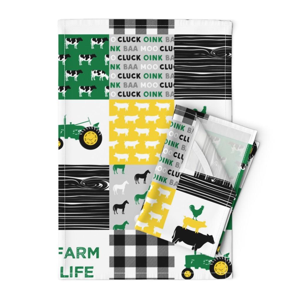 Orpington Tea Towels featuring farm life - wholecloth green, custom yellow, and black - woodgrain by littlearrowdesign