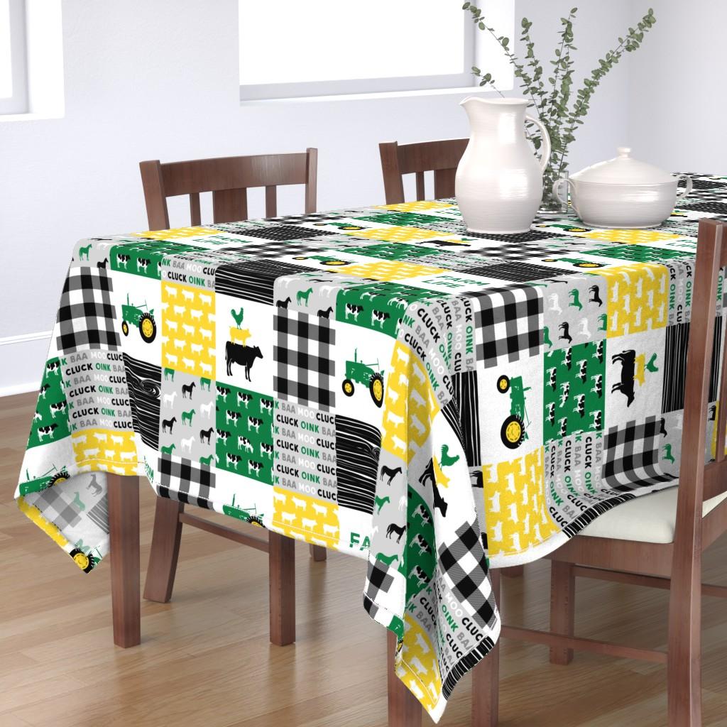 Bantam Rectangular Tablecloth featuring farm life - wholecloth green, custom yellow, and black - woodgrain by littlearrowdesign