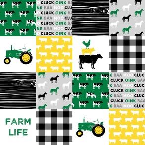 farm life - wholecloth green, custom yellow, and black - woodgrain