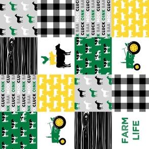 farm life - wholecloth green, custom yellow, and black - woodgrain (90)