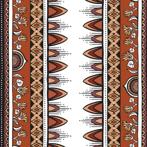 Bohemian Aztec Flowers - Terracotta and Earth Tones