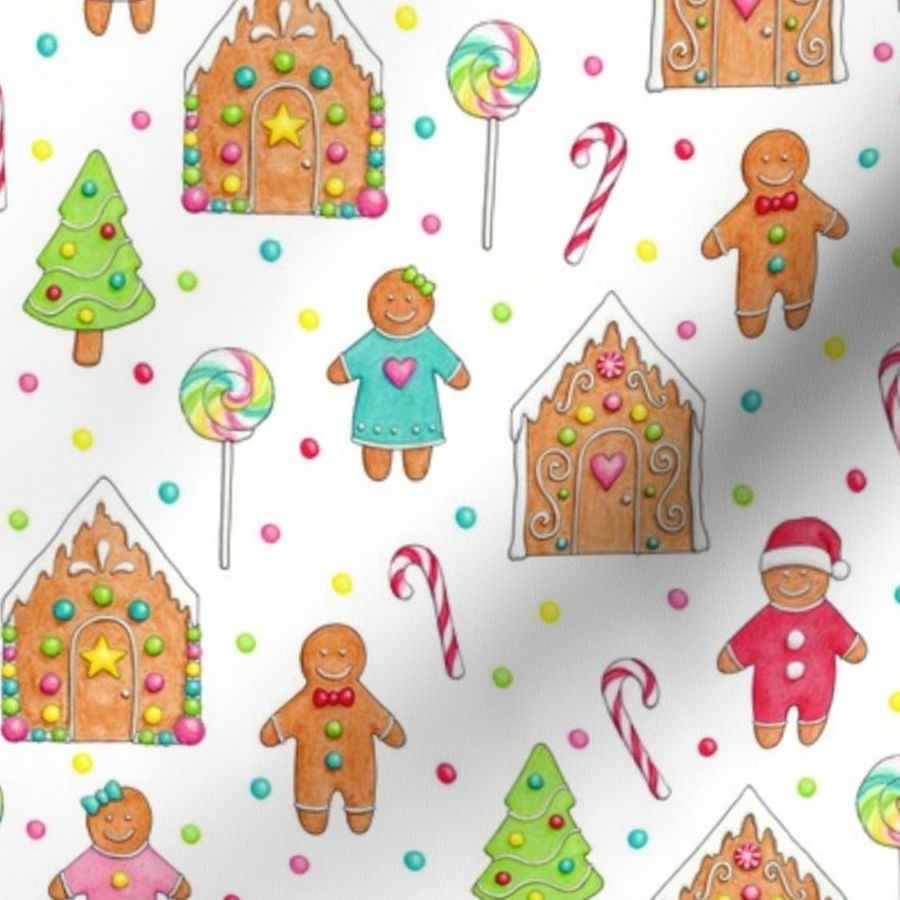 Christmas Gingerbread House Cartoon.Fabric By The Yard Christmas Gingerbread People Houses Smaller Scale