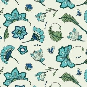 Bohemian Paisley Flowers - Aqua and Green