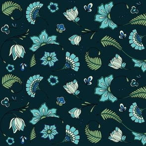 Bohemian Paisley Flowers - Teal and Aqua