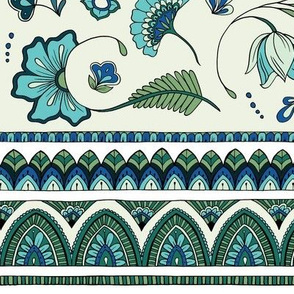 Bohemian Mandalas and Flowers - Aqua and Green