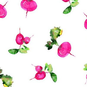 Watercolor pink veggies
