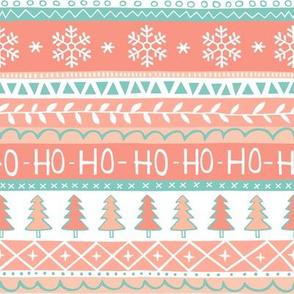 Christmas Xmas Stripes Snowflakes Trees Peach Mint Green