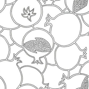 Pomegranate Black and White Coloring Outlines