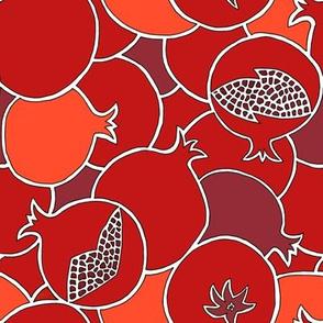 Bright Pomegranates in Red