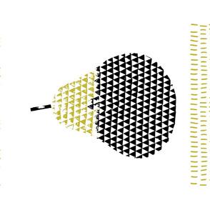 Geometric Pear in Mustard and Black