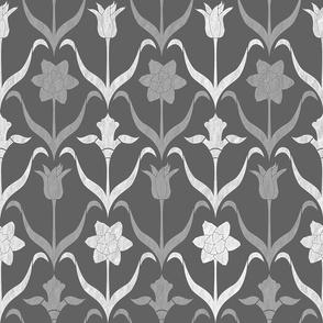 Spring Flower Bulbs in Bloom Lrg Grey White