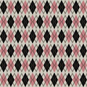 pink and black argyle