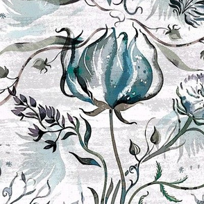 dove _botanical_bouquet_woodblock style