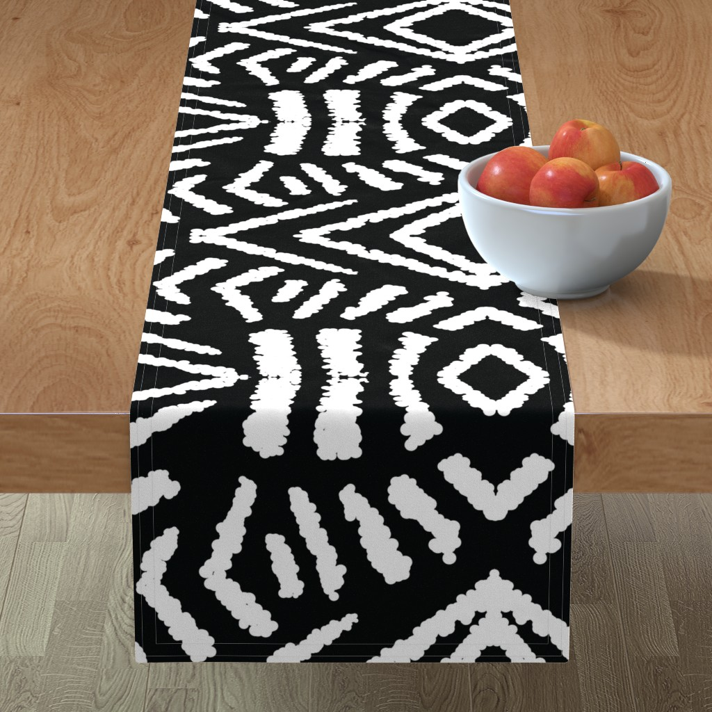 Minorca Table Runner featuring diamonds_unknown_black_large by blayney-paul