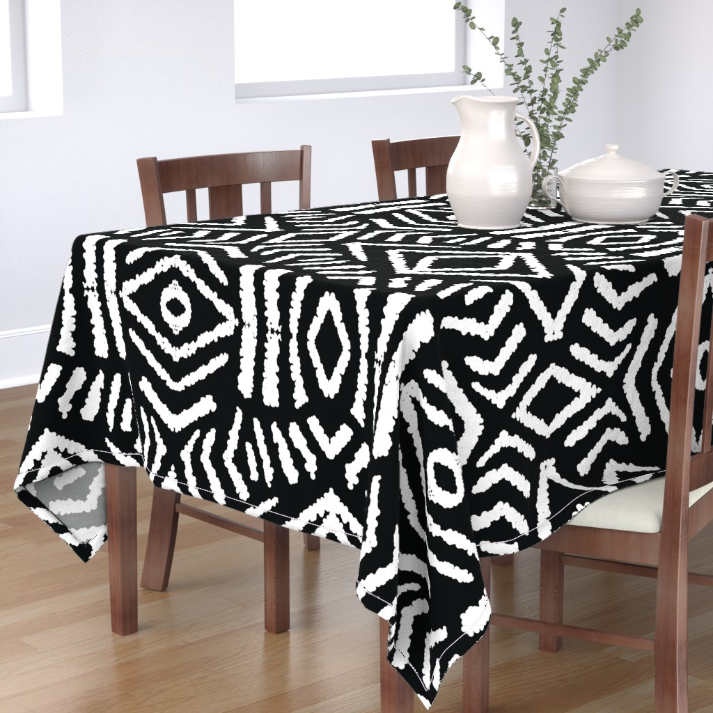 Bantam Rectangular Tablecloth featuring diamonds_unknown_black_large by blayney-paul