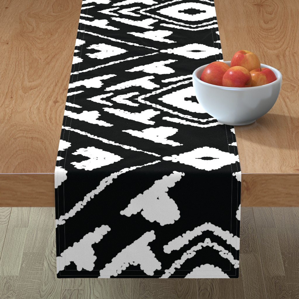 Minorca Table Runner featuring diamonds_valuable_black_large by blayney-paul