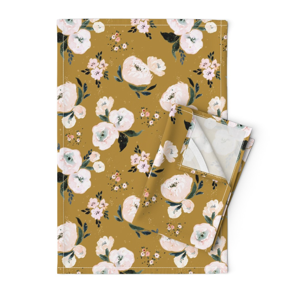 Orpington Tea Towels featuring Janice Floral vintage by crystal_walen