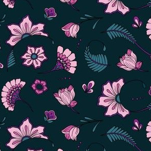 Bohemian Paisley Flowers - Teal and Peony