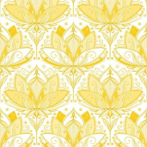 Warm Golden Yellow Art Nouveau Lotus Lace