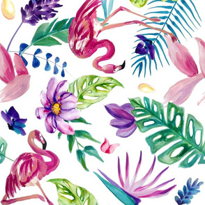 Painted Tropical Flamingo - White Large