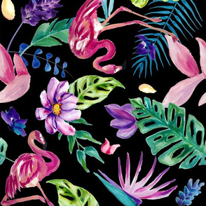 Painted Tropical Flamingo - Black Large