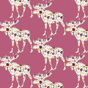 """3"""" Floral Moose Silhouettes on Purple"""
