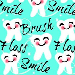 Brush Floss Smile - dental -Retro /Aqua blue kawaii