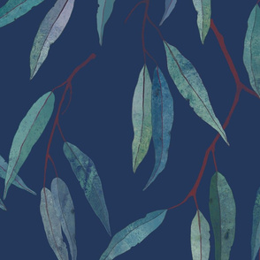 Eucalyptus leaves on blue /1/
