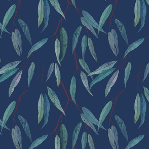 Eucalyptus leaves on blue /1/ scale