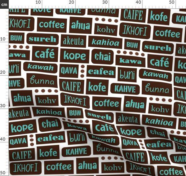 Fabric by the Yard coffee 'round the world  LizArti