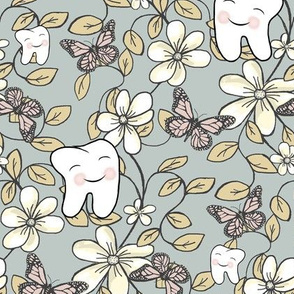 Posh Dental Floral in Fresh Contemporary Color palette / Blushing Teeth, Flowers, Butterflies on Grey