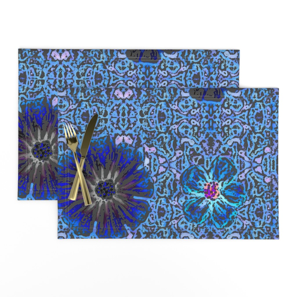 Lamona Cloth Placemats featuring Grande Indigo Blue Batik by clearwaterzstudio