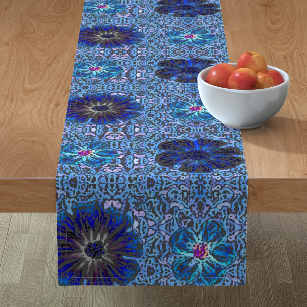Minorca Table Runner featuring Grande Indigo Blue Batik by clearwaterzstudio