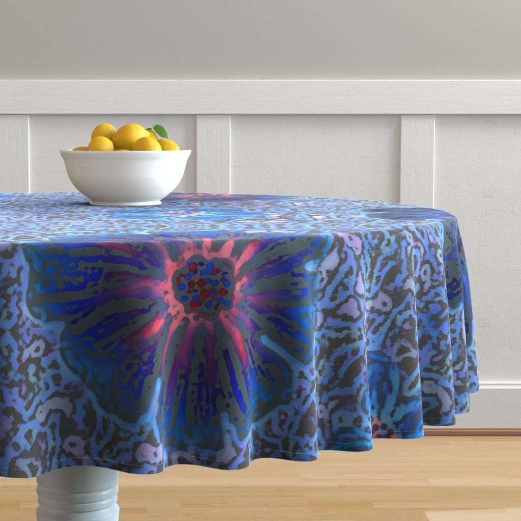 Malay Round Tablecloth featuring Grande Indigo Blue Batik by clearwaterzstudio