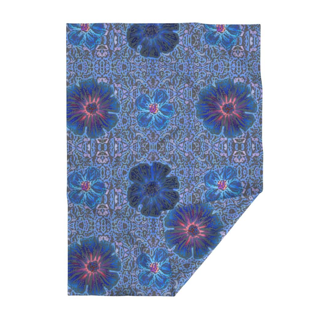 Lakenvelder Throw Blanket featuring Grande Indigo Batik by clearwaterzstudio